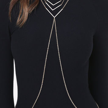Crystal Chevron Body Chain | bebe