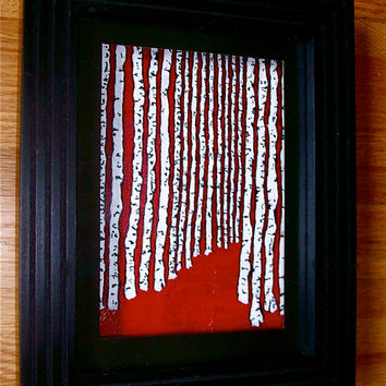 """Birch Walk (ORIGINAL ACRYLIC PAINTING) 6"""" x 8"""" in a 8"""" x 10"""" frame by Mike Kraus"""