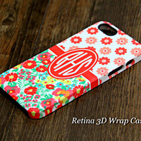 Red Flowers Pattern Monogram iPhone 6 Plus 6 5S 5C 5 4 Protective Case #976