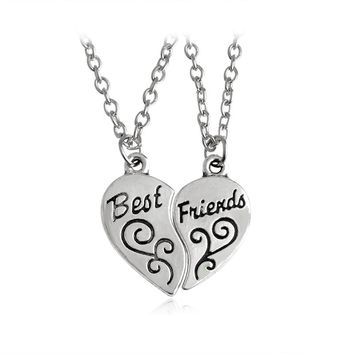 2 pcs/set Broken Heart Pendant Necklace Best Friends Necklaces For Women Men Friend Simple Silver Color Love Friendship Jewelry