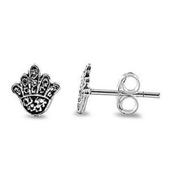 Sterling Silver Oxidized Hands of Hamsa / God Stud Earrings