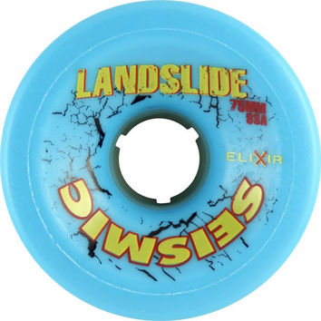 Seismic Landslide 75Mm 83A Blue/Yellow Logo Longboard Wheels