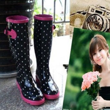 Free Drop Shipping Korean Style Woman Fashion Rainboots Rainshoes Buckle Water Boot Wellies Bargin Price Galoshes