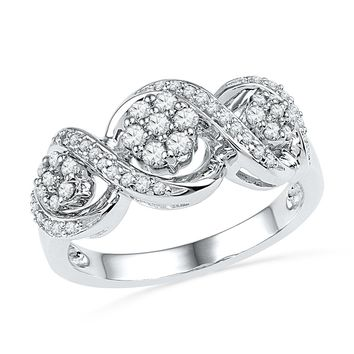10kt White Gold Womens Round Diamond Triple Flower Cluster Ring 1/3 Cttw
