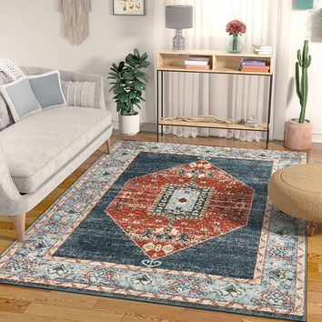 2934 Blue Red Vintage Tribal Medallion Oriental Area Rugs