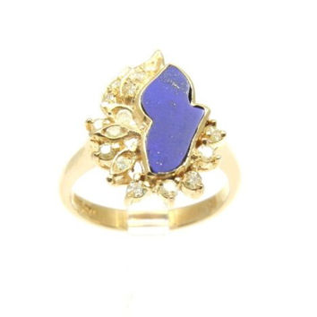 UNIQUE GENIUNE LAPIS LAZULI & DIAMOND RING SET IN SOLID 18K YELLOW GOLD