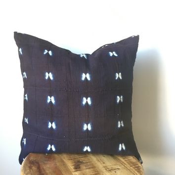 Shibori Indigo and White African Mudcloth Pillow Cover - Double sided and Insert Available