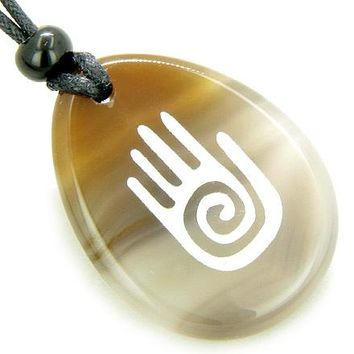Infinity Protection Hand Amulet Natural Agate Good Luck Necklace