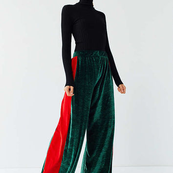 UO Striped Velour Wide-Leg Pant | Urban Outfitters