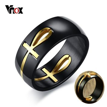 Vnox Men's Two Tones Removable Ankh Egyptian Cross Ring Stainless Steel Detachable Allah Male Religious Jewelry USA Warehouse