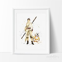 Rey & BB8 Star Wars Watercolor Art Print