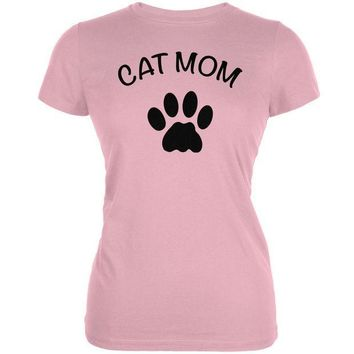 MDIGCY8 Mother's Day - Cat Mom Pink Juniors Soft T-Shirt