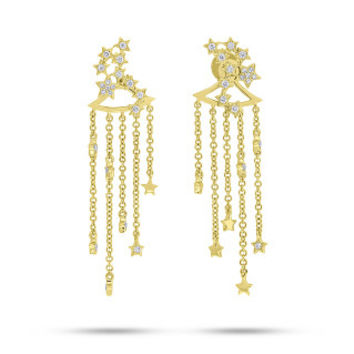 0.25ct 14k Yellow Gold Diamond Star Constellation Earring Jacket with Studs