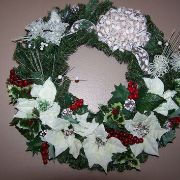 Christmas Wreaths Front Door Wreaths White Ivory Berry Berries W