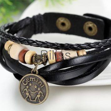 SHIPS FROM USA 2017 Vintage Multilayer Braided Constellation Gemini Charm Bracelets Bohemia Wood Beads Cuff Leather Bracelet For Women Men