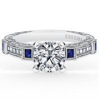"Kirk Kara ""Carmella"" Blue Sapphire Bezel Set Diamond Engagement Ring"
