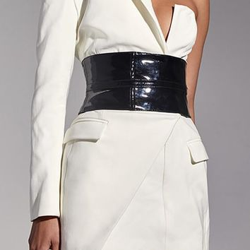 Secret Meeting White Black One Shoulder Long Sleeve V Neck Blazer Wrap Belted Bodycon Mini Dress