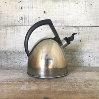 Teapot Mid Century Tea Pot Tea Kettle Metal Teapot Stainless Steel Teapot Silver Tea Kettle Retro Teapot Mid Century Kitchen Decor
