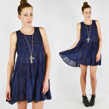 vtg 90s grunge navy blue SHEER floral EMBROIDERED tiered ruffle BABYDOLL dolly mini dress S