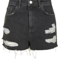 MOTO Black Ecru Ripped Mom Shorts - Black