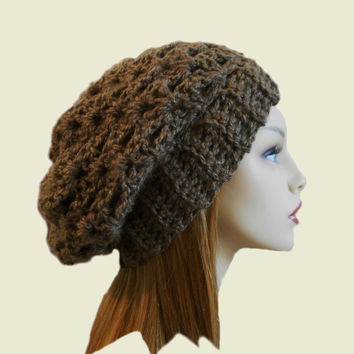 Slouchy Hat Beanie Crochet Beany Brown Slouch Women Teen Chocolate Brown Spring Crochet Hat