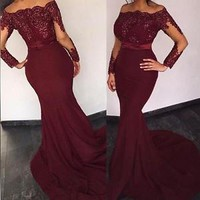 Long Sleeve Mermaid Bead Evening Dress Dance Pageant Party Formal Celebrity Gown