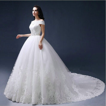 High quality Luxury custom 2015 new style Vestido de noiva lace sleeveless ball gown wedding dresses