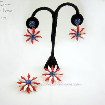 Plastic Flower Jewelry Red White and Blue Set Patriotic Dangle Earrings Brooch Pendant for Necklace