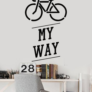 Vinyl Wall Decal Bike Bicycle Teen Art Quote Teenager Stickers Unique Gift (221ig)