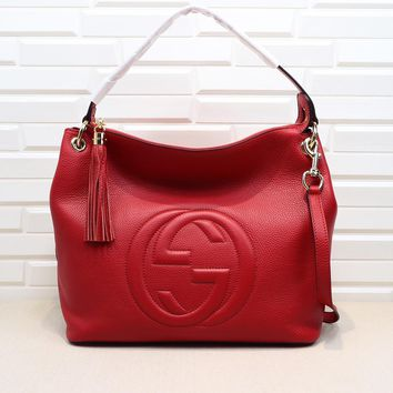 Gucci Women Shopping Leather Crossbody Satchel Shoulder Bag Red