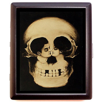Victorian Skull Illusion Metamorphic Romance Goth Cigarette or Business Card Case or Metal ID wallet