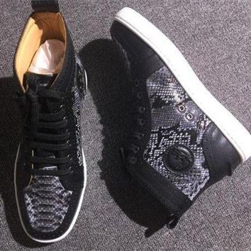 DCCK Cl Christian Louboutin Python Style #2270 Sneakers Fashion Shoes