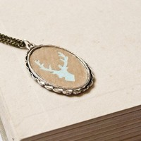Stag silhouette necklace handcut by louloudo on Etsy