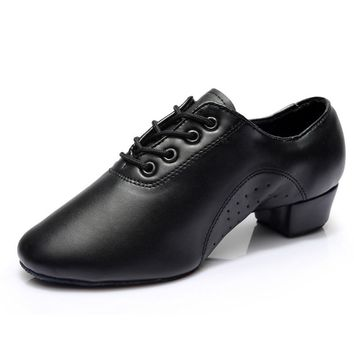 Men Boys Adult Latin/Ballroom/Tango Dance Shoes Dance Sneakers Leatherette Exercise Shoes Low Heel Black Wholesale Free Shipping