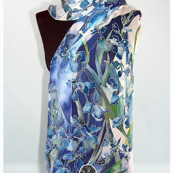 Silk scarf ' Iris ' hand painted - blue , navy blue , white