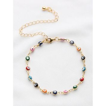 Colorful Beaded Design Chain Bracelet