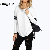Tengeio t shirt Autumn O-Neck Long Sleeve Striped Patchwork Cotton Casual Loose Harajuku T-Shirt Women Tops tee shirt femme 50O
