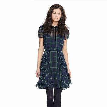 Plaid Short-Sleeve A-Line Chiffon Collared Dress