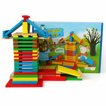 120 pcs Children Wooden Toys Stacking Blocks Games Baby Learning Education Model Shapes Toys Rolling Stacked Tower Blocks
