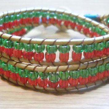 Beaded Wrap Bracelet in Christmas Colors