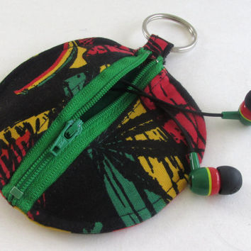 Pot Leaf Circle Earbud Holder Pouch / Rasta Coin Purse / Bob Marley Inspired
