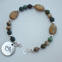 Green Jasper and Tan Beaded Bracelet, Treat Yourself, Fall Fashion, Easy Clasp, Handmade Quality, Unique Gift, Stacking bracelet