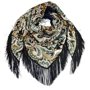 Warm Winter Scarf with large fringed shawl