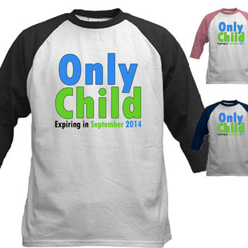 Only Child NOW Big Brother Shirt Announcement Shirt new sibling t-shirt personalized with month and year boy green blue text