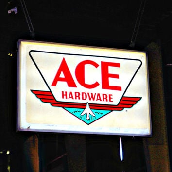 Vintage 'Ace Hardware'  Hanging Lighted Sign FREE SHIPPING