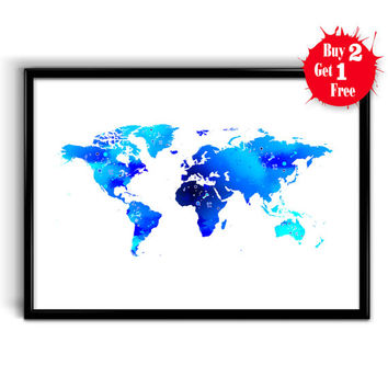 World Map wall art Print, Wanderlust, Canvas print World, Watercolor Map poster, World Map Wall Art Home Decor, Blue decor