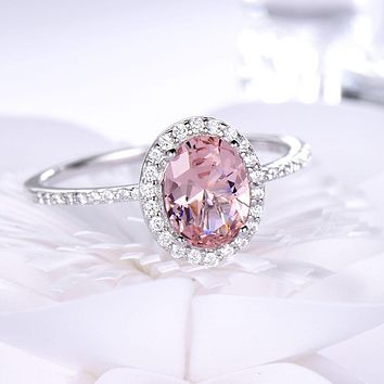 925 Sterling Silver Oval Classic Pink  Created Sapphire Rings For Women Engagement Wedding Party Ring Fine Jewelry New