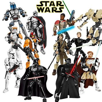 Star Wars Force Episode 1 2 3 4 5  Buildable Figure Building Block Toy Kylo Ren Chewbacca Darth Vader Boba Jango Fett Stormtrooper Compatible with lego AT_72_6