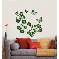 Wall Vinyl Decal Flower Butterfly Floral Romantic Branch Tree Decor Unique Gift z3917