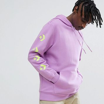 Converse Pullover Hoodie With Arm Print In Purple Exclusive To ASOS at asos.com